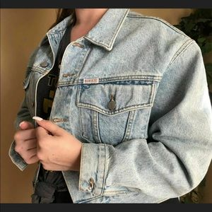 Vintage 90s Guess Denim Jean Jacket M Light Wash